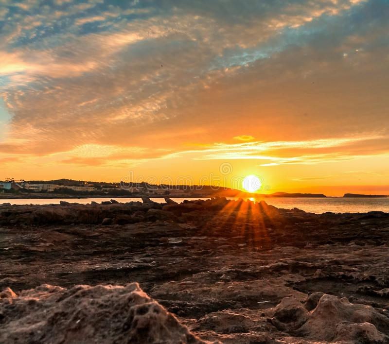 Sonnenuntergang Ibiza stockfotografie