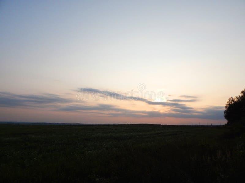 Sonnenuntergang im Himmel hinter den Bäumen lizenzfreie stockfotografie