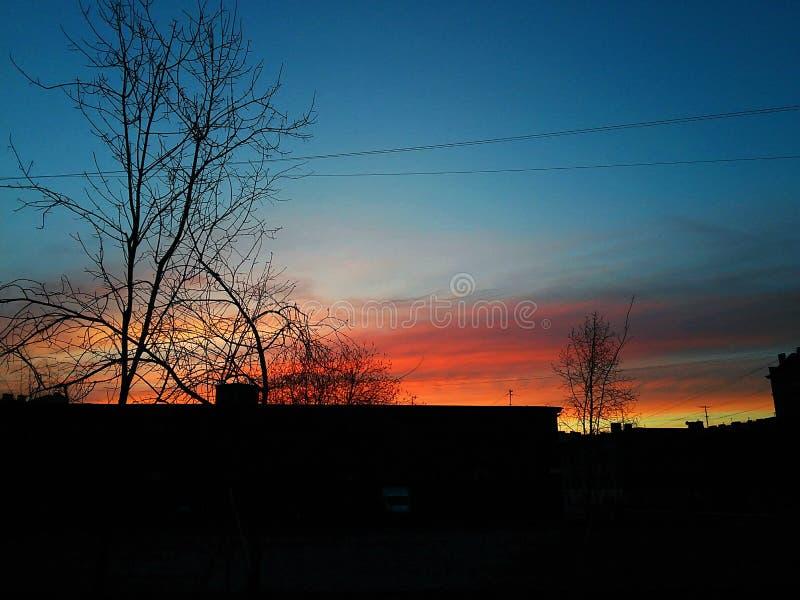 Sonnenuntergang im St Petersburg lizenzfreie stockbilder