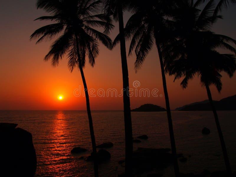 Sonnenuntergang in Indien lizenzfreie stockfotos