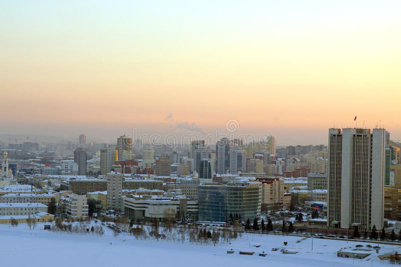 Sonnenuntergang in Jekaterinburg stockfotos