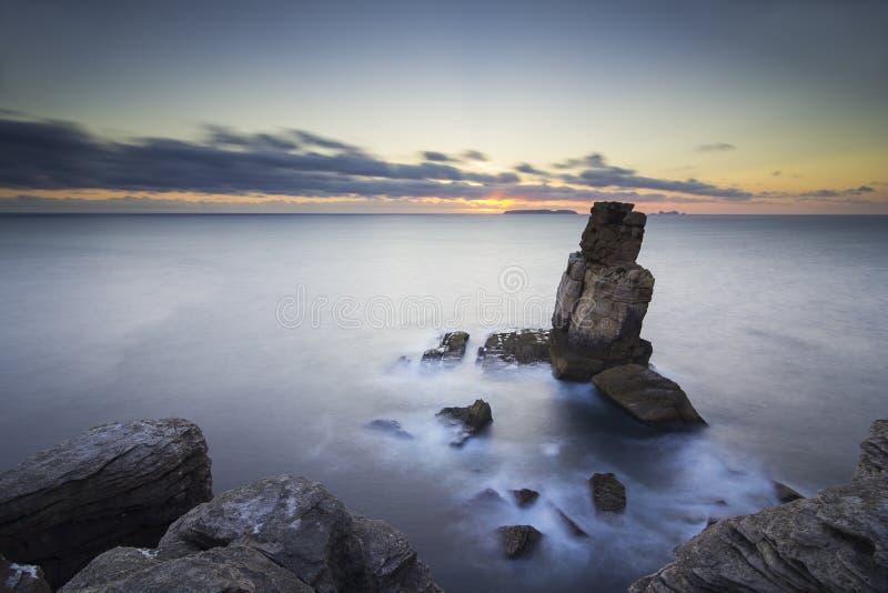 Sonnenuntergang am Kap Carvoeiro lizenzfreie stockfotografie