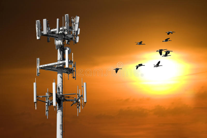 Sonnenuntergang-Kontrollturm lizenzfreies stockfoto