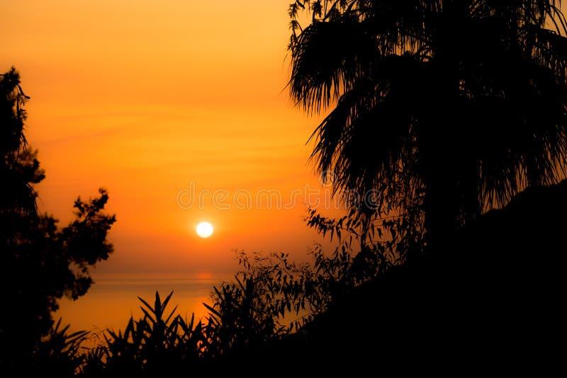 Sonnenuntergang in Kreta-Insel, Griechenland lizenzfreie stockfotos