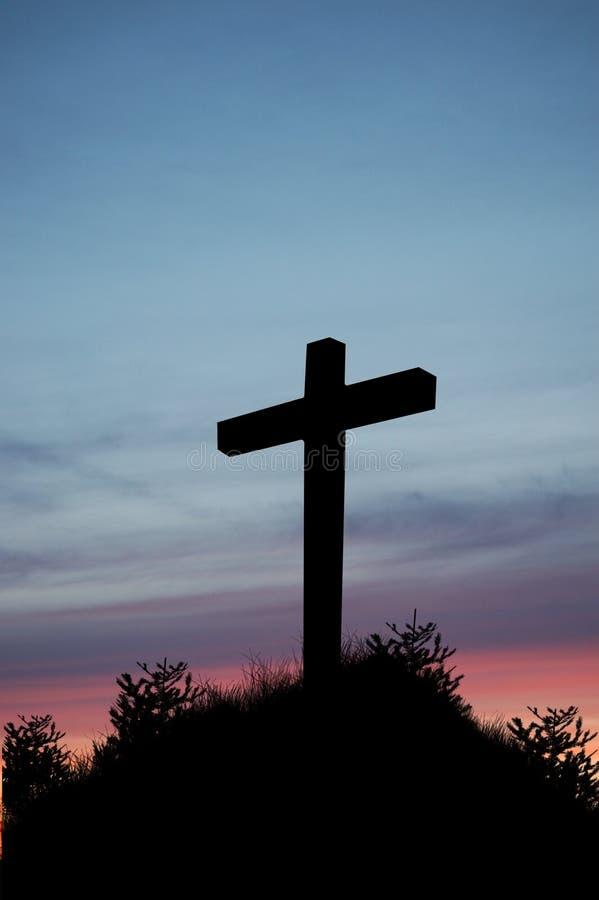 Sonnenuntergang-Kreuz stockfotos