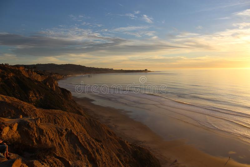 Sonnenuntergang-La- Jollastrand-Bucht stockfoto