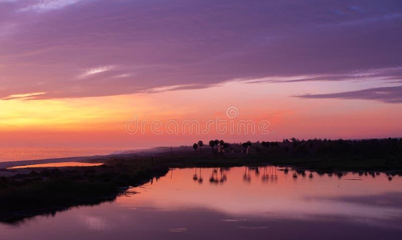Sonnenuntergang-La Poza TODOS Santos lizenzfreie stockfotos