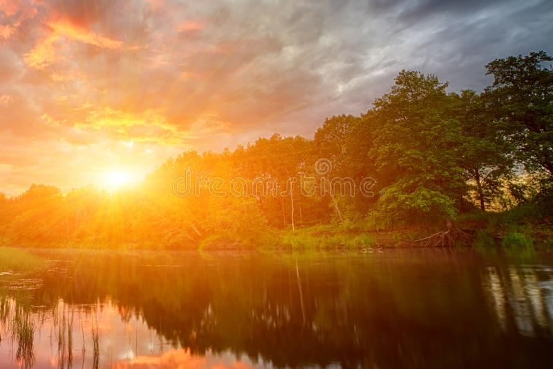Sonnenuntergang lang die Banken des Amazonas Die Steuerbaren der Amazonas-Durchquerung die Länder von Guyana, Ecuador, Peru, Bras stockfotos