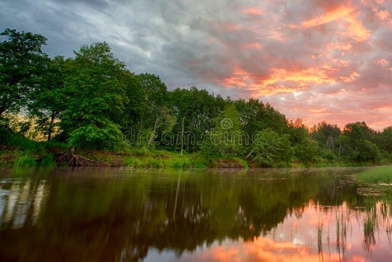 Sonnenuntergang lang die Banken des Amazonas Die Steuerbaren der Amazonas-Durchquerung die Länder von Guyana, Ecuador, Peru, Bras stockbilder