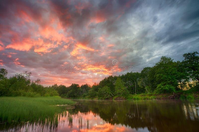 Sonnenuntergang lang die Banken des Amazonas Die Steuerbaren der Amazonas-Durchquerung die Länder von Guyana, Ecuador, Peru, Bras stockfotografie