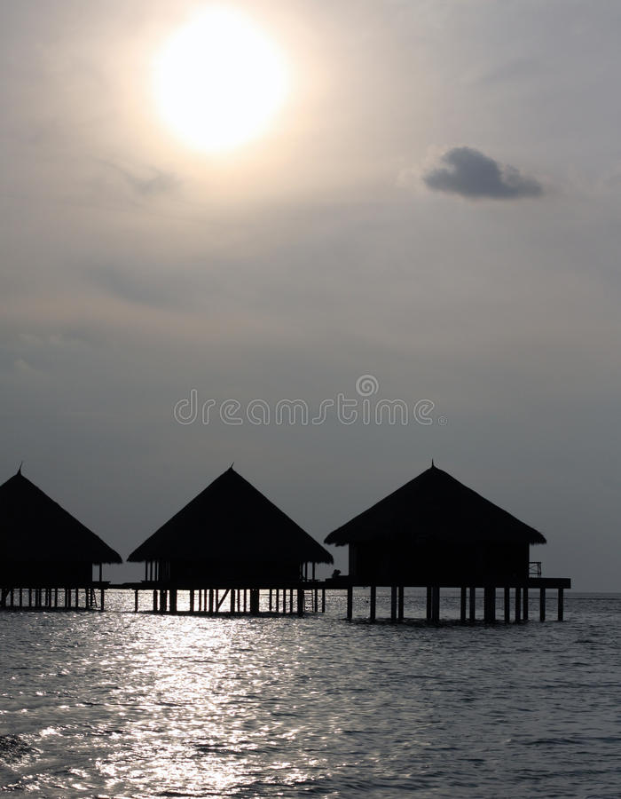 Sonnenuntergang in Maldives stockbild