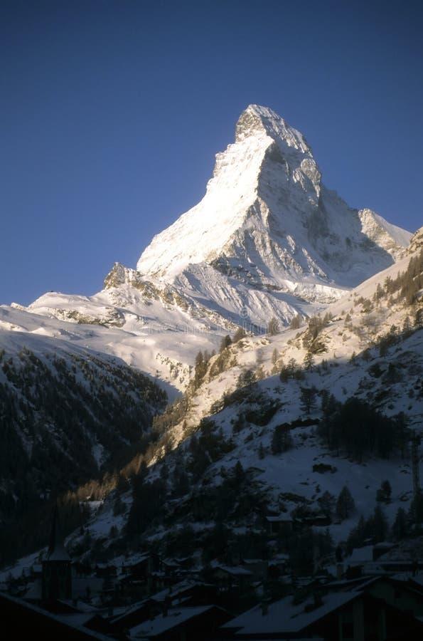Sonnenuntergang, Matterhorn-Berggipfel stockbilder