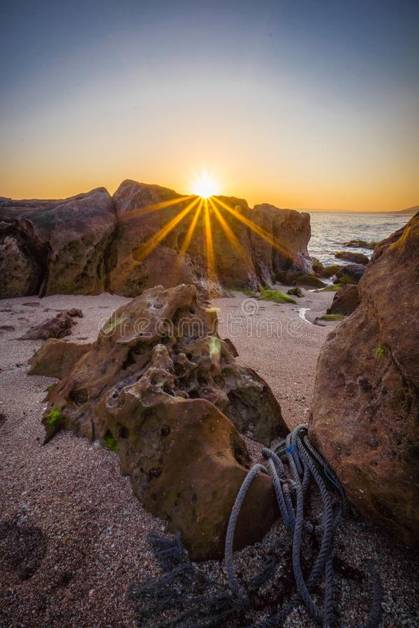 Spain Andalucia beach Sunset shore Sunset on the sea Spain Andalusia royalty free stock photo