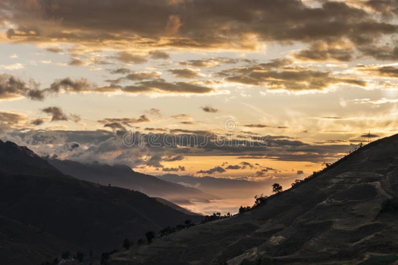 Sonnenuntergang Merideño lizenzfreie stockfotos