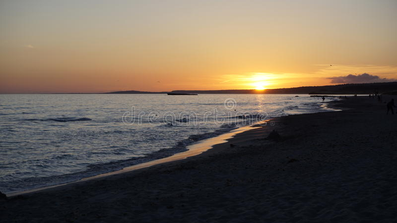 Sonnenuntergang in Minorca Spanien lizenzfreies stockfoto