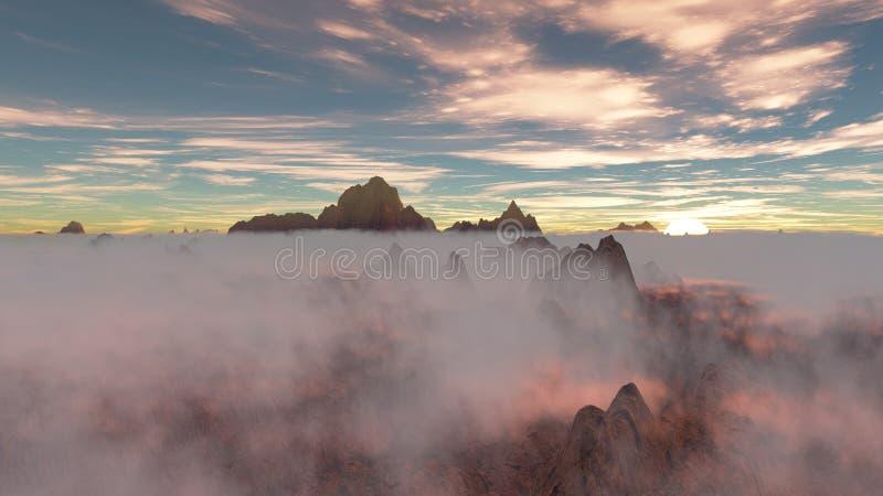 Sonnenuntergang mit niedrigen hängenden Wolken vektor abbildung