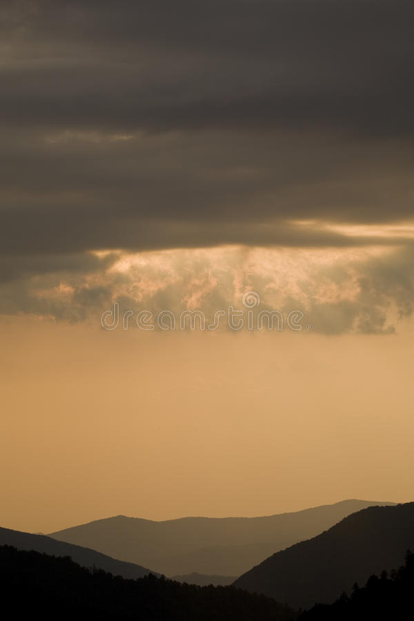 Sonnenuntergang, Morton übersehen, großes rauchiges Mtns NP stockbilder