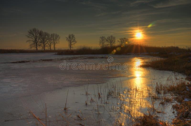 Sonnenuntergang nahe Kostinbrod, Bulgarien stockfotos