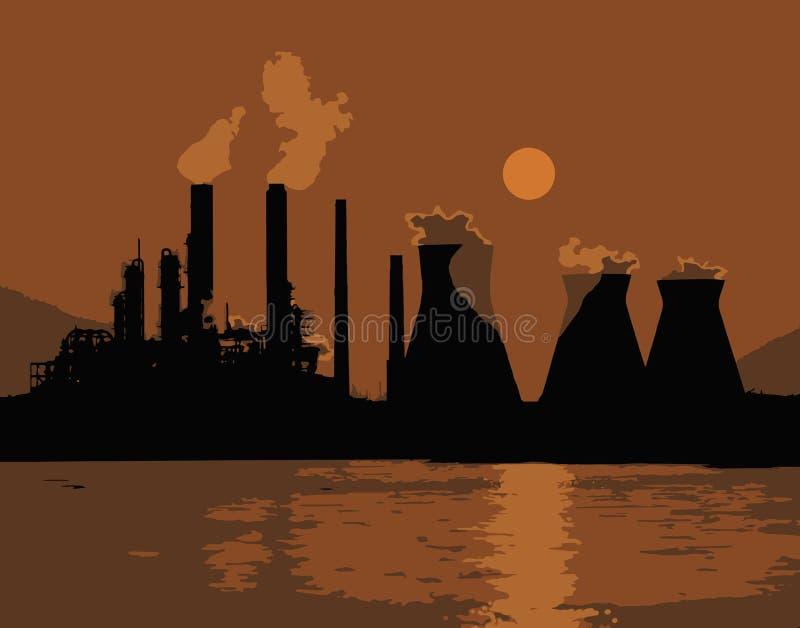 Sonnenuntergang oder Sonnenaufgang über der Stadt Orange Licht Pfeifenrauch Atomkraftwerk, Heizungsanlage Vektor stock abbildung