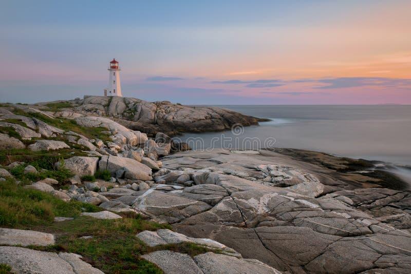 Sonnenuntergang Peggy-` s am Punkt-Leuchtturm lizenzfreie stockbilder