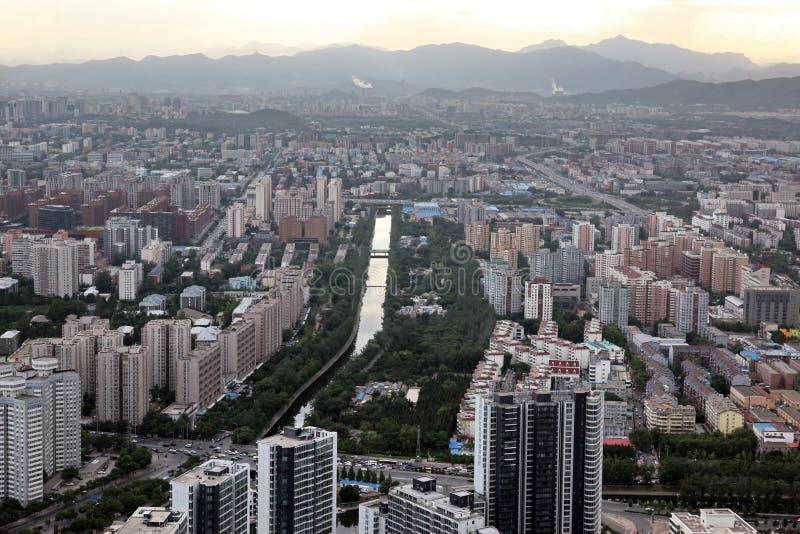 Sonnenuntergang in Peking, China stockbild