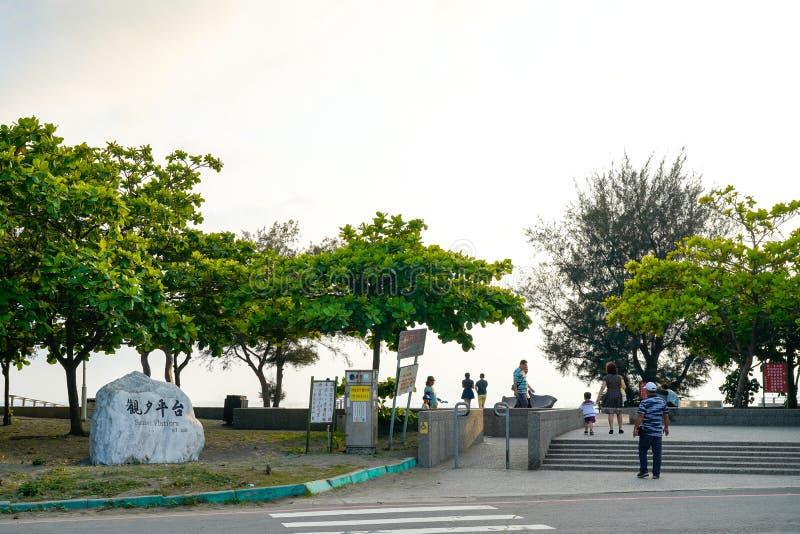 Sonnenuntergang-Plattform, ber?hmte szenische Stellen in Tainan, Taiwan stockfotografie
