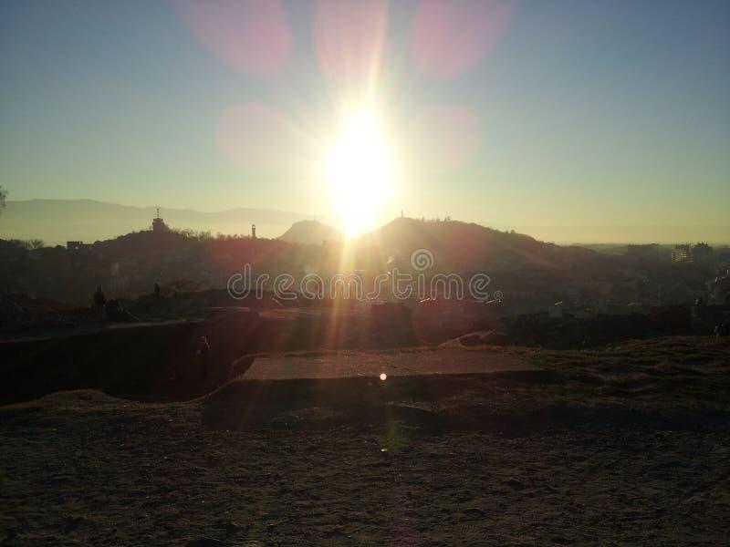 Sonnenuntergang Plowdiw stockfotos