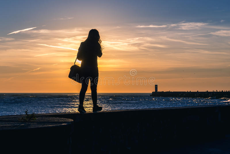 Sonnenuntergang in Porto lizenzfreie stockfotos