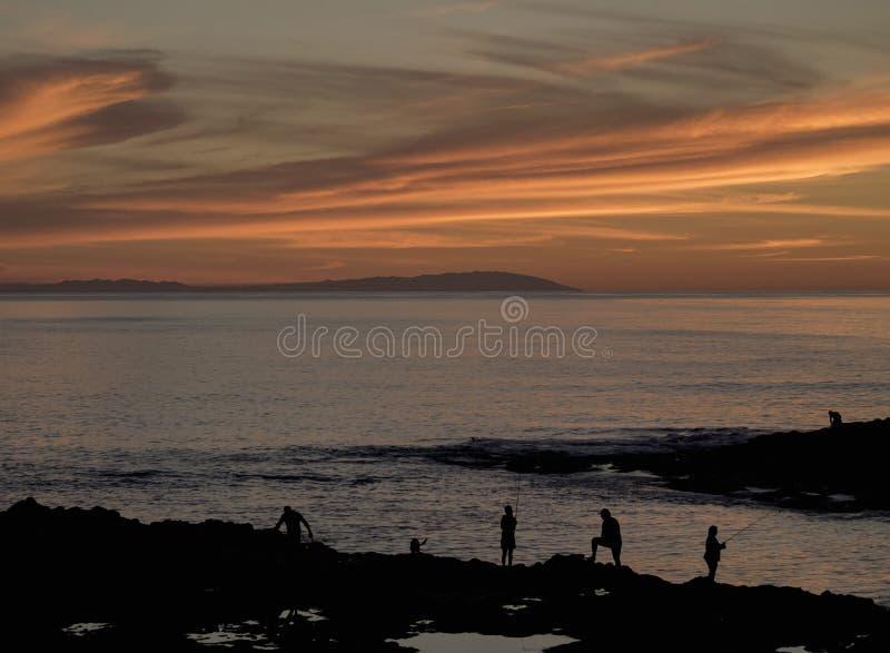 Sonnenuntergang in Punta del Hidalgo auf Teneriffa stockfotografie