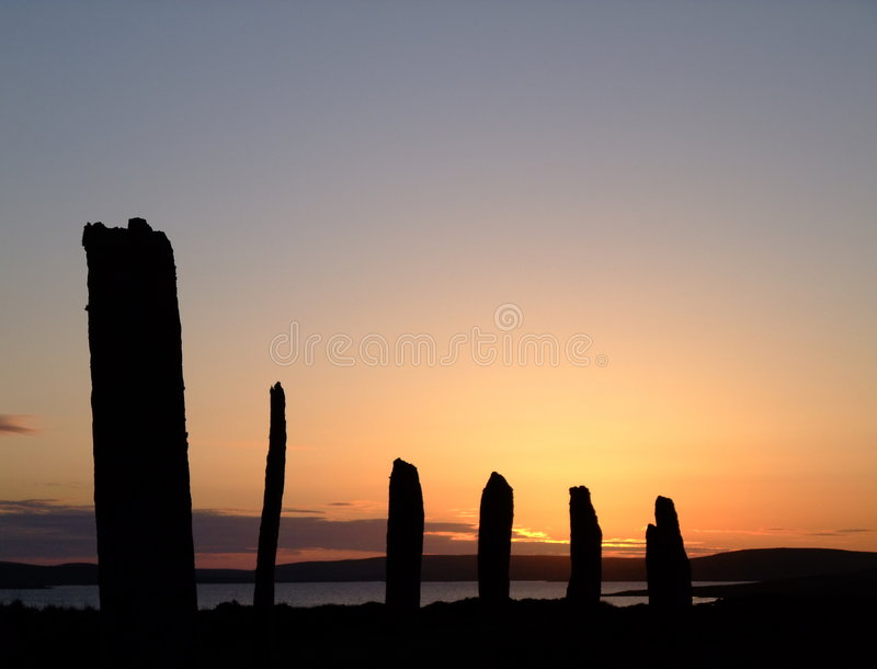 Sonnenuntergang am Ring von Brodgar, Orkney stockfoto