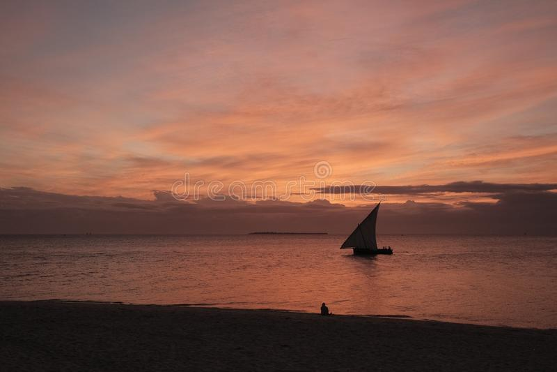 Sonnenuntergang in Sansibar stockbilder