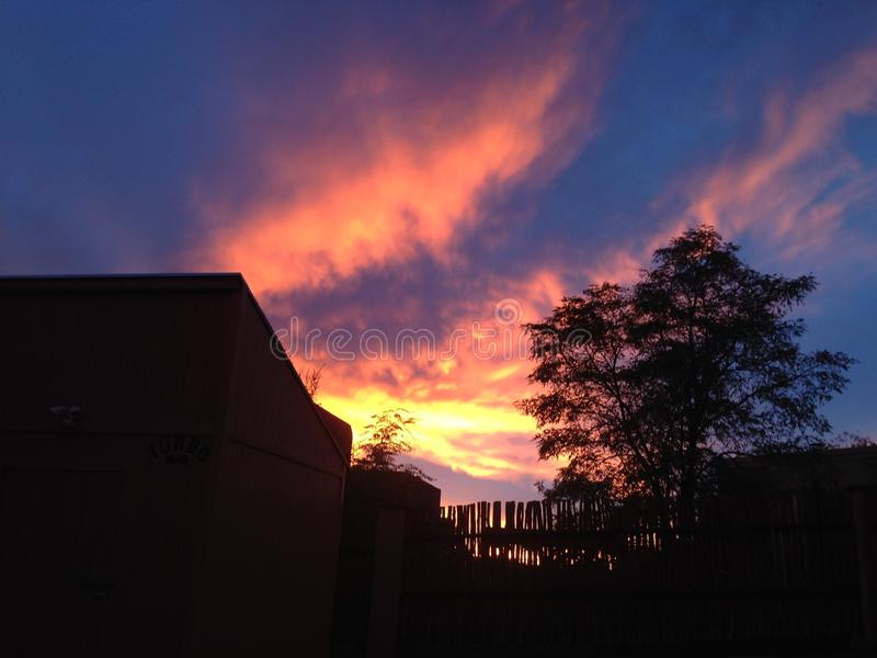 Sonnenuntergang in Santa Fe lizenzfreie stockfotografie