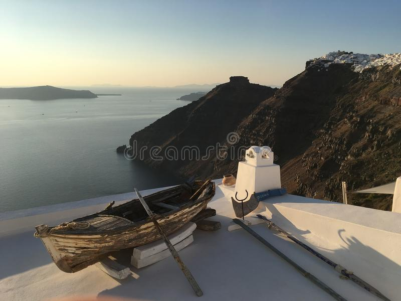 Sonnenuntergang in santorini Inseln griechisch stockbilder