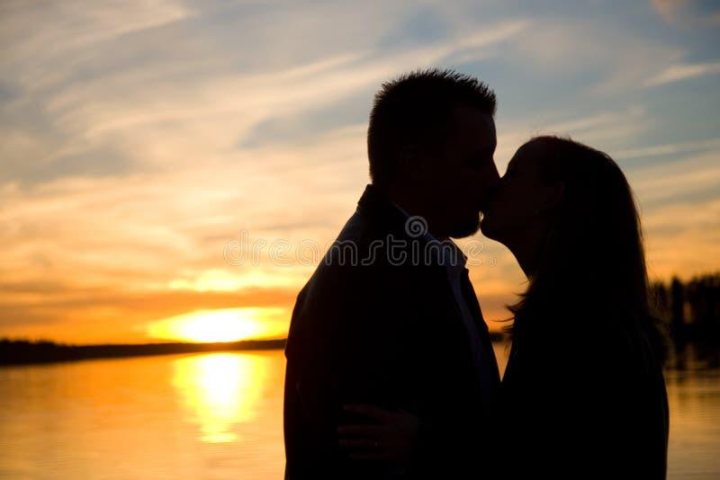 Sonnenuntergang-Schattenbild Lizenzfreie Stockfotos
