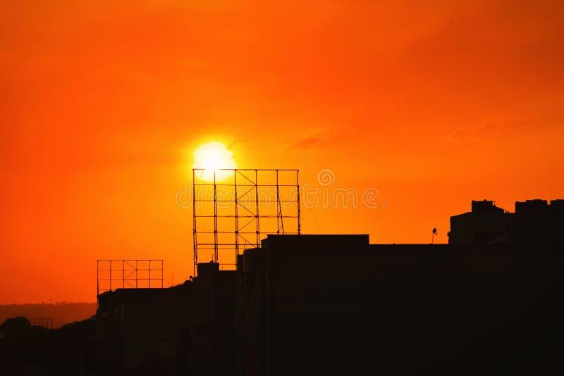 Sonnenuntergang-Schattenbild, Nakuru, Kenia lizenzfreies stockbild