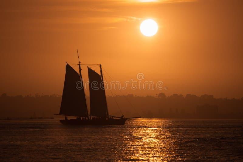 Sonnenuntergang-Segeln lizenzfreies stockbild