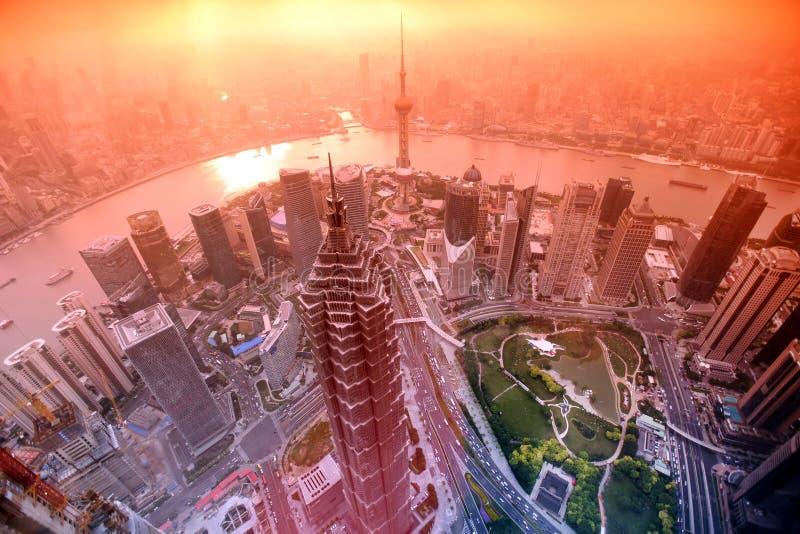 Sonnenuntergang in Shanghai, China stockfoto