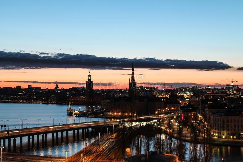 Sonnenuntergang in Stockholm stockfoto