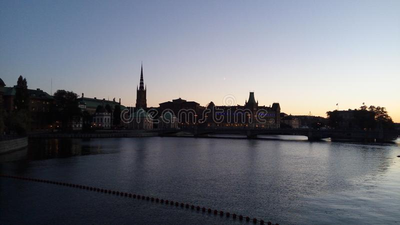 Sonnenuntergang in Stockholm stockfotografie