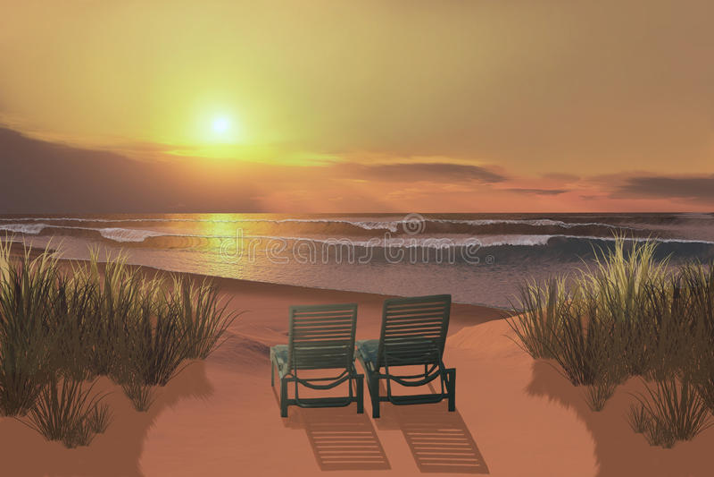 Sonnenuntergang-Strand stockfotos