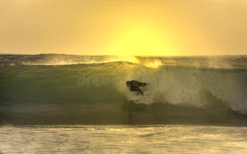 Sonnenuntergang-Surfer in der Welle stockbilder