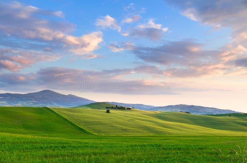 Sonnenuntergang Toskana stockfotos
