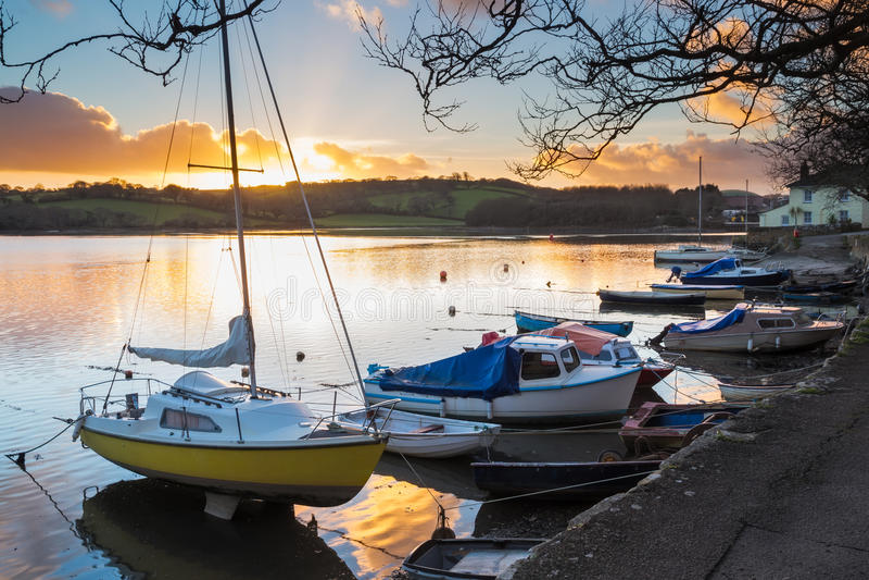 Sonnenuntergang Truro Cornwall stockfotos