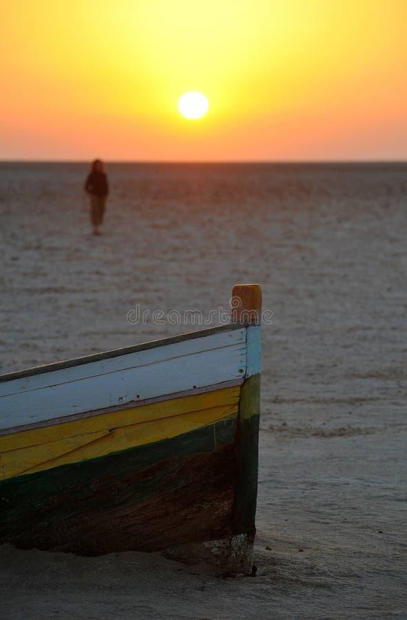 Sonnenuntergang in Tunesien stockbild