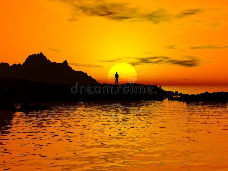 Sonnenuntergang und Mann stockbild