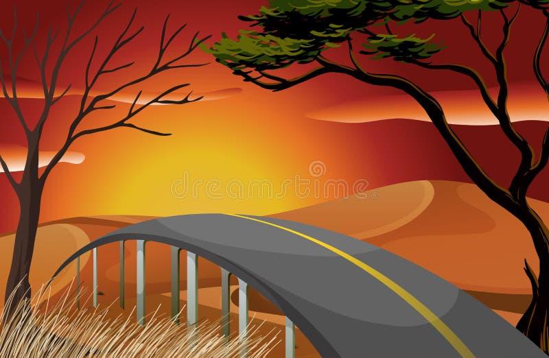 Sonnenuntergang und Straße vektor abbildung