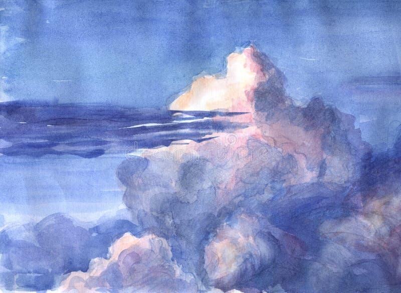 Sonnenuntergang und Wolken. stock abbildung