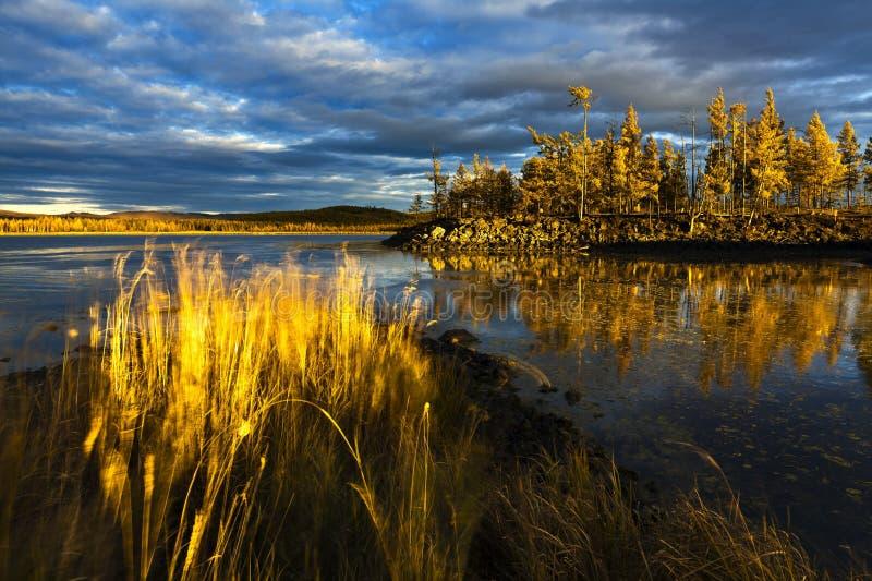 Sonnenuntergang unter dem See und dem Wald stockbilder