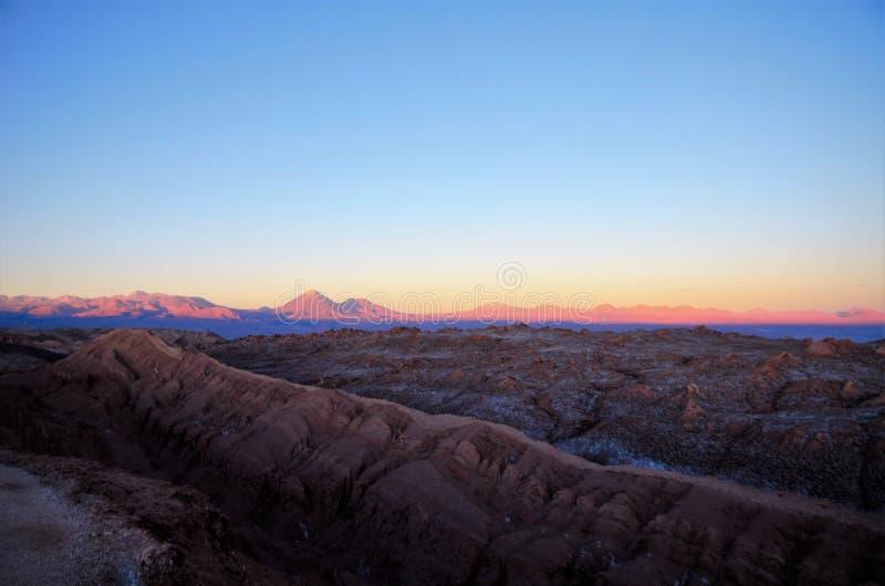 Sonnenuntergang Valle-De-La Luna stockbilder