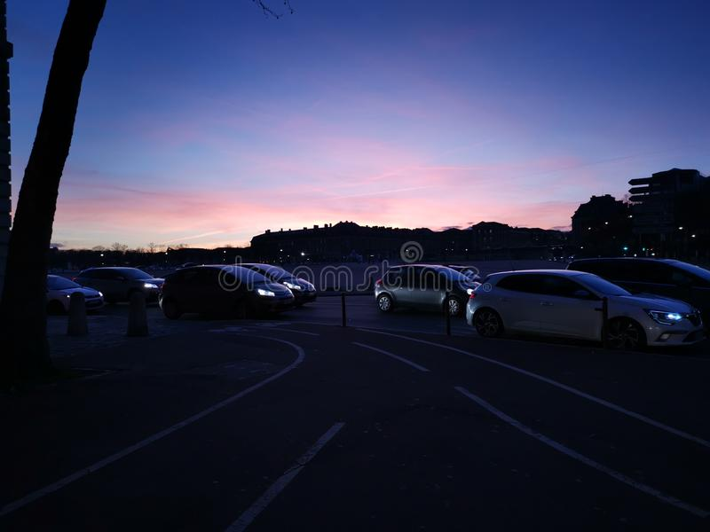 Sonnenuntergang Versailles lizenzfreie stockfotografie